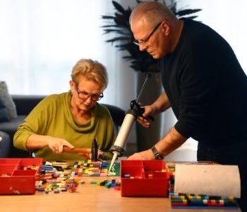 Rita making lego ramp