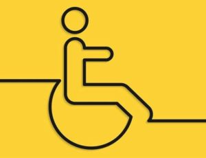 changing places wheelchair user line drawing